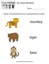 free printable zoo animal worksheet for kindergarten