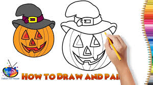 how to draw and paint halloween pumpkin learn colour for kids