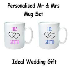 wedding gift mugs personalised mr mrs mug set wedding gift