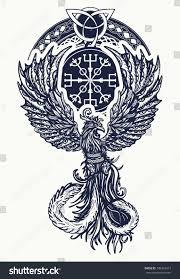 magic heat birds tattoo tshirt celtic stock vector 748322413
