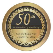 50th anniversary gold plate black and gold plates zazzle au