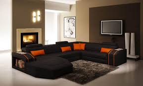 Living Room With Orange Sofa Living Room Burnt Orange Sofa 7084 Canape D Angle Panoramique