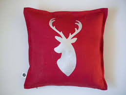 red throw pillow deer head pillow cover for home decor