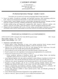 Operations Management Resume Production Manager Resume Sample Free Resumes Tips