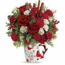 send cheap flowers cardinal delight christmas flowers bouquet at send flowers