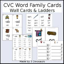 3 dinosaurs cvc word family ladders