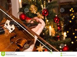 violin with tree stock image image of chrismas 60863651