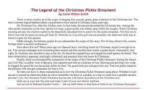the legend of the pickle ornament writers ink