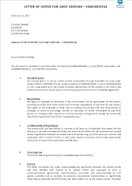 joint venture letter of intent template templates at