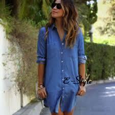 womens denim shirt dress ladies casual dresses fashion long