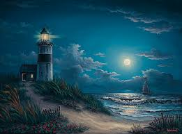 light house at night night watch painting by kyle wood