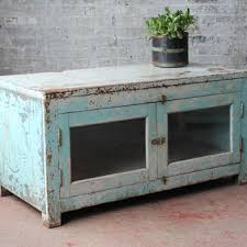 tv stand glass door reclaimed media console tv stand vintage acid washed jodhpur blue