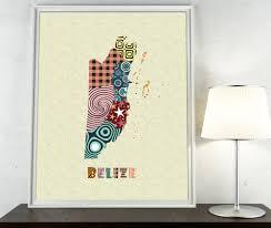 belize geometric map wall decor painting belize poster belmopan