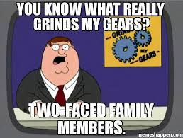 Meme Faced - you know what really grinds my gears two faced family members meme