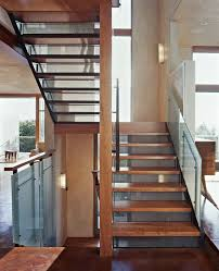 open riser with steel and wood treads staircase contemporary