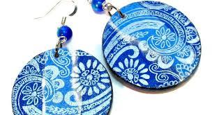 decoupage earrings decoupage earrings mixed media jewelry blukatdesign handmade