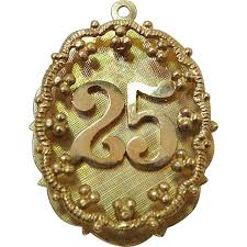 25th anniversary charm large 1960 s vintage 14k yellow gold 25th anniversary charm