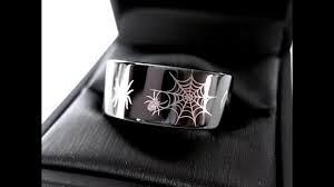 spider ring halloween ring mens tungsten wedding bands black