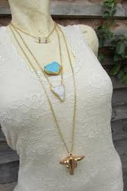 long boho pendant necklace images Sat long boho chic necklace 3 strands gold plated chain druzy jpg