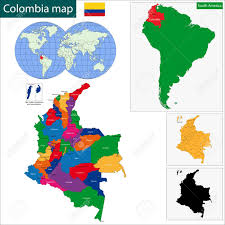 Map Of Colombia Map Of The Republic Of Colombia With The Regions Colored In Bright