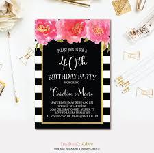 black u0026 white stripe birthday invitation black pink and gold