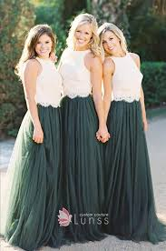 green bridesmaid dresses two tone white lace and green tulle scalloped sleeveless
