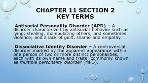 psychological disorders chapter 11 chapter 11 section 1 key terms