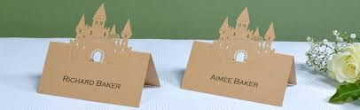 castle printed place card printing with name guest hotel brown