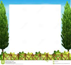 border design with tree and fence stock vector image 61399769