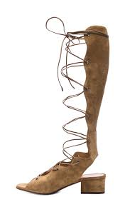 saint laurent babies suede lace up gladiator sandals in tan fwrd