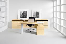 Wooden Office Table Design Black Stained Wood Office Desk Along With White Iron Frame And