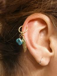 gold cartilage hoop turquoise gold cartilage hoop feather earring boho tragus