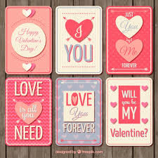 valentines day cards in retro style vector free