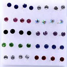 allergy free jewelry women s 4mm clear multicolor allergy free ear studs