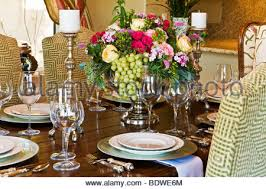 Dining Room Place Settings A Dining Table Set With Place Settings Wine Glasses U0026 Red Roses
