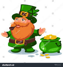 leprechaun green hat four leaf clover stock vector 589818536