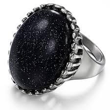 rings for men vintage large oval quartz titanium stainless steel ring for