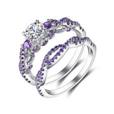 amethyst engagement ring sets amethyst wedding ring sets lajerrio jewelry