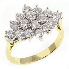 cluster rings 18ct yellow gold 2 00ct brilliant diamond cluster ring