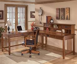 office desk l shaped with hutch ashley furniture cross island l shape desk with low hutch