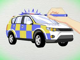 cartoon car drawing 3 ways to draw a police car wikihow