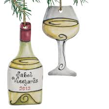 personalized white wine bottle and wine glass ornament set of 2