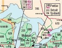 michigan area code map index of state area code maps