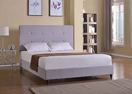 Platform Bed With Mattress Included Home Life Cloth Light Grey Silver Linen Platform Bed With