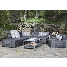 Woodard Patio Furniture - canaveral eden modern wicker sectional sofa and chair set