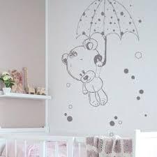 stickers nounours et parapluie chambre bébé ours