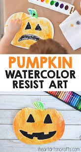 pumpkin watercolor resist art for kids i heart arts n crafts