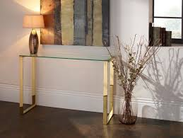 rose gold console table asger glass top console table in steel gold or rose gold metal