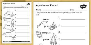 pirate alphabet ordering worksheet pirate a z alphabet