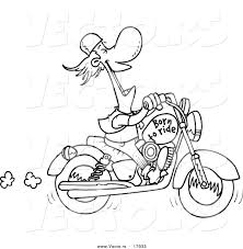 vector of a cartoon biker laughing on his motorcycle coloring